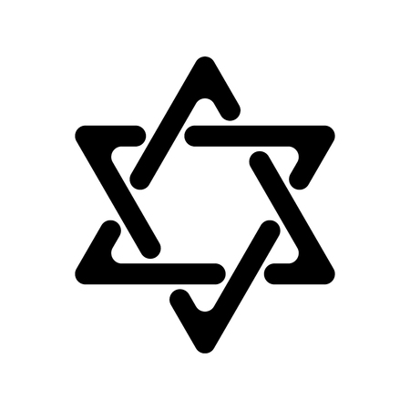 Star of David. Hexagram sign. Symbol of Jewish identity and Judaism. Simple flat black illustration with rounded corners.
