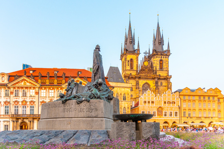 Jan Hus Monument and Church of Our Lady before Tyn at Old Town Square, Prague, Czech Republic.