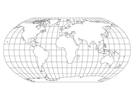 Mapa świata w projekcji Robinsona z siatką południków i równoleżników. Biała kraina z czarnym konturem. Ilustracja wektorowa.