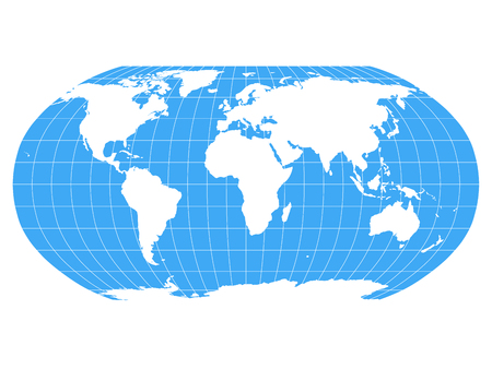 Mapa del mundo en proyección Robinson con cuadrícula de meridianos y paralelos. Tierra blanca y mares y océanos azules. Ilustración vectorial.