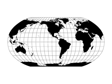 World Map in Robinson Projection with meridians and parallels grid. Americas centered. Black land with black outline. Vector illustration. Stock Illustratie