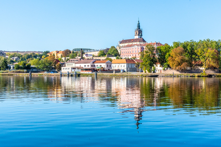 Panoramic cityscape of Litomerice reflected in Labe River, Czech Republic. Reklamní fotografie
