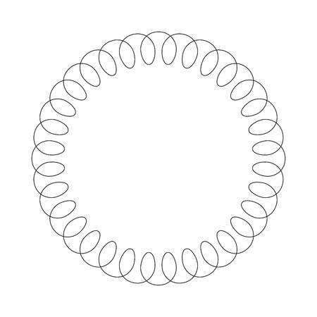 Black telephone spiral cable in the circle Simple flat illustration. Vektorgrafik