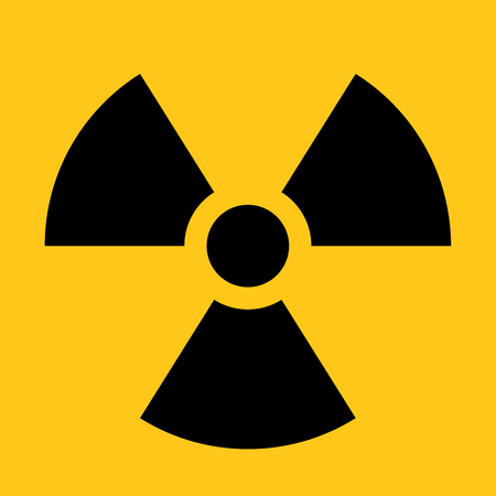 Radioactive material sign. Symbol of radiation alert, hazard or risk. Simple flat vector illustration in black and yellow. Illustration