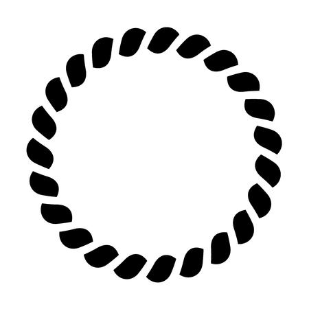 Cercle de motif de corde. Cadre décoratif ornemental. Illustration vectorielle noir. Vecteurs