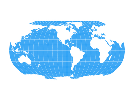World Map in Robinson Projection with meridians and parallels grid. Americas centered. White land and blue sea. Vector illustration.