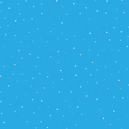 Snowy seamless patern. White dot snowflakes on blue background. Snow and Christmas theme. Abstract backround.
