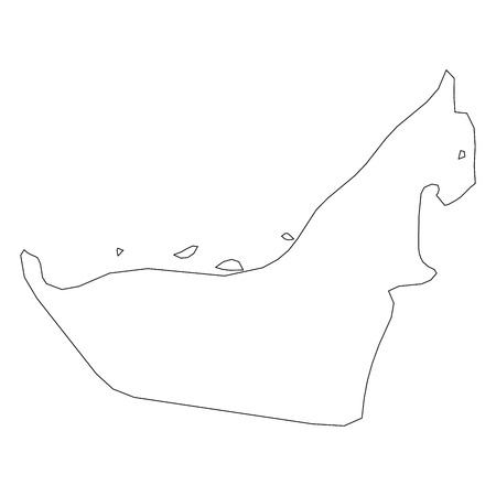 United Arab Emirates, UAE - solid black outline border map of country area. Simple flat vector illustration.