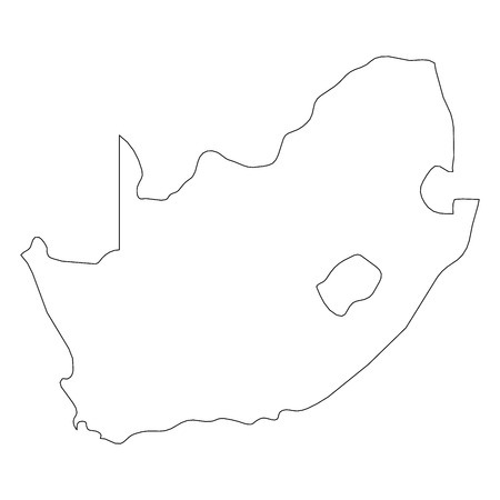 South Africa - solid black outline border map of country area. Simple flat vector illustration.