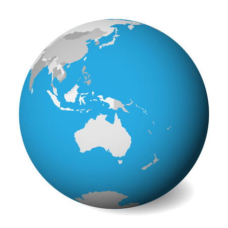 Blank political map of Australia. 3D Earth globe with blue water and grey lands. Vector illustration. Zdjęcie Seryjne - 114560174