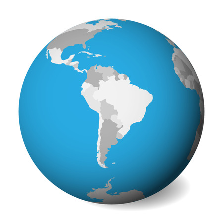 Blank political map of South America. 3D Earth globe with blue water and grey lands. Vector illustration. Zdjęcie Seryjne - 114560175