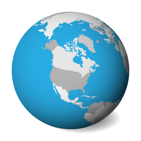 Blank political map of North America. 3D Earth globe with blue water and grey lands. Vector illustration. Zdjęcie Seryjne - 114560176