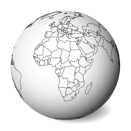Blank political map of Africa. 3D Earth globe with black outline map. Vector illustration.