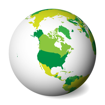Blank political map of North America. 3D Earth globe with green map. Vector illustration.