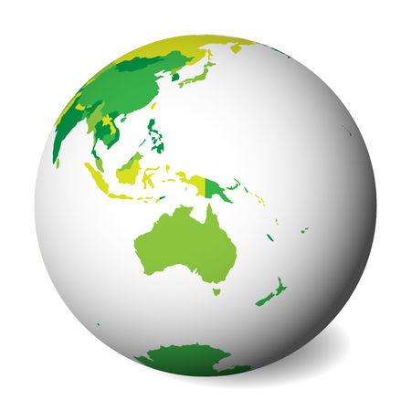 Blank political map of Australia. 3D Earth globe with green map. Vector illustration. Zdjęcie Seryjne - 114560225