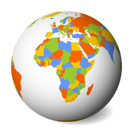 Blank political map of Africa. 3D Earth globe with colored map. Vector illustration. Zdjęcie Seryjne - 114560240