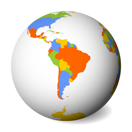 Blank political map of South America. Earth globe with colored map. Vector illustration.