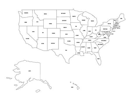 Flat Us Map.Political Map Of United States Od America Usa Simple Flat Black