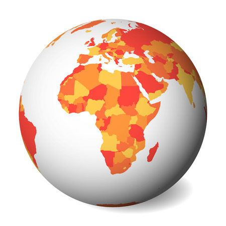 Blank political map of Africa. 3D Earth globe with orange map. Vector illustration.
