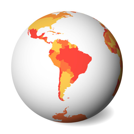 Blank political map of South America. 3D Earth globe with orange map. Vector illustration. Zdjęcie Seryjne - 114560264