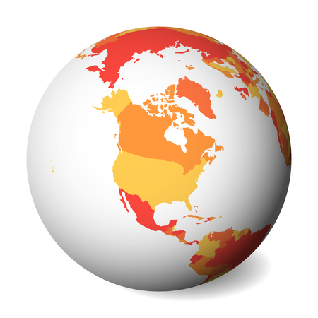 Blank political map of North America. 3D Earth globe with orange map. Vector illustration. Zdjęcie Seryjne - 114560265