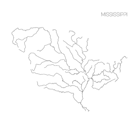 Map of Mississippi river drainage basin. Simple thin outline vector illustration. Illusztráció