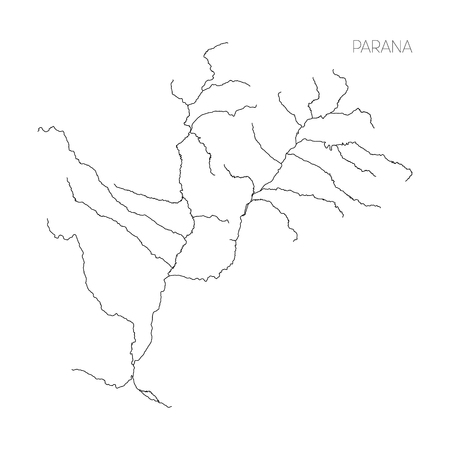 Map of Parana river drainage basin. Simple thin outline vector illustration. Stock fotó