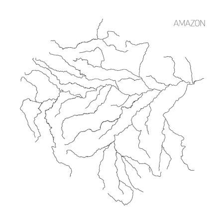 Map of Amazon river drainage basin. Simple thin outline vector illustration.
