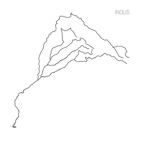 Map Of Indus River Drainage Basin. Simple Thin Outline Vector ...