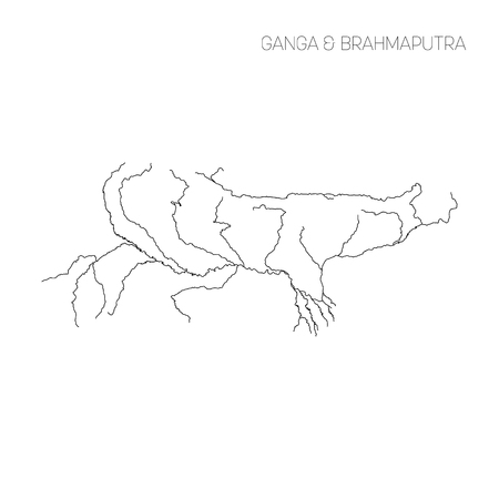 Map of Ganga and Brahmaputra rivers drainage basin. Simple thin outline vector illustration.