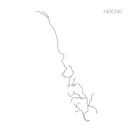 Map of Mekong river drainage basin. Simple thin outline vector illustration. Stock fotó