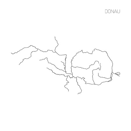 Map of Donau river drainage basin. Simple thin outline vector illustration. 스톡 콘텐츠