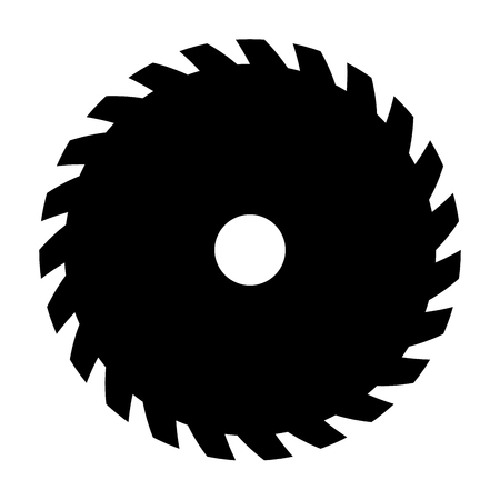 Black circular saw. Vector sign or icon. Symbol of saw mill.