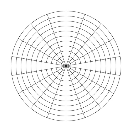 Polar grid of 10 concentric circles and 20 degrees steps. Blank vector polar graph paper.