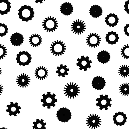 Cog wheel seamless pattern. Clockwork, technological or industrial theme. Flat vector background in black and white. Illustration