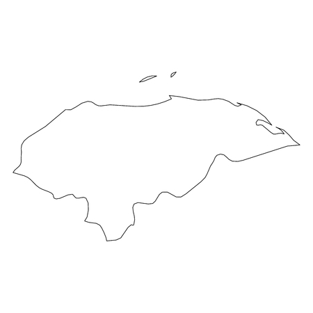 Honduras - solid black outline border map of country area. Simple flat vector illustration.