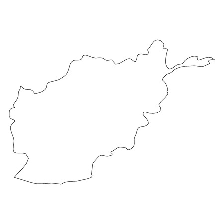 Afghanistan - solid black outline border map of country area. Simple flat vector illustration.