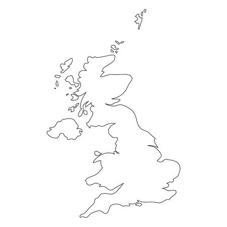 Reino Unido de Gran Bretaña e Irlanda del Norte, Reino Unido - mapa de borde de contorno negro sólido del área del país. Ilustración de vector plano simple.