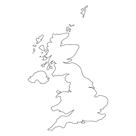 Royaume-Uni de Grande-Bretagne et d'Irlande du Nord, Royaume-Uni - carte de frontière à contour noir solide de la région du pays. Illustration vectorielle plane simple.