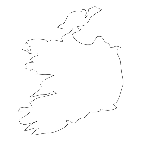Ireland - solid black outline border map of country area. Simple flat vector illustration.  イラスト・ベクター素材