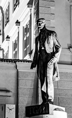 PRAGUE, CZECH REPUBLIC - OCTOBER 11, 2018: The first president of Czechoslovakia - Tomas Garrigue Masayk, alias TGM, statue at Hradcanske square near Prague Castle, Prague, Czech Republic. Black and white image.