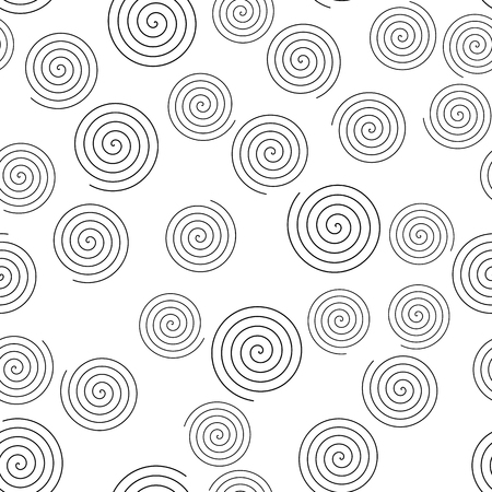 Seamless pattern of random spirals. Abstract vector background.