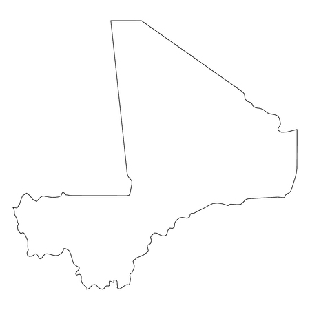 Mali - solid black outline border map of country area. Simple flat vector illustration.