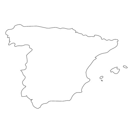 Spain - solid black outline border map of country area. Simple flat vector illustration.