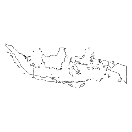 Indonesia - solid black outline border map of country area. Simple flat vector illustration. Illustration