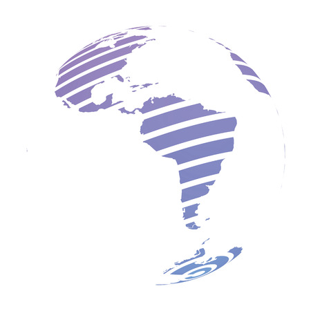 Earth globe with blue striped World land map focused on South America. 3D vector illustration.