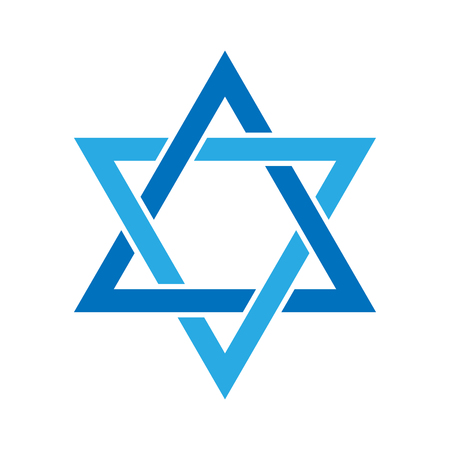 Star of David. Hexagram sign. Symbol of Jewish identity and Judaism. Simple flat blue illustration. Illustration