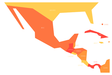 Political map of Mexico and Central Amercia. Simlified schematic flat vector map in four color scheme.