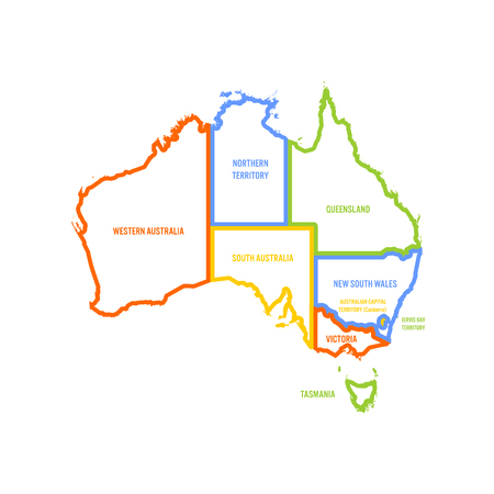 Simplified map of Australia divided into states and territories. Multicolored outline flat vector map.