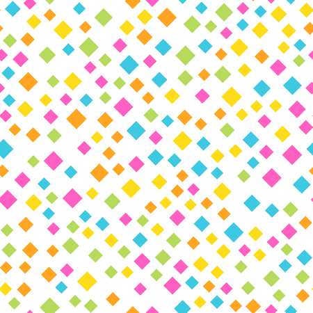 Seamless abstract geometric pattern of squares in random order. Funny, happy and children theme. Simple flat vector illustration. Illustration